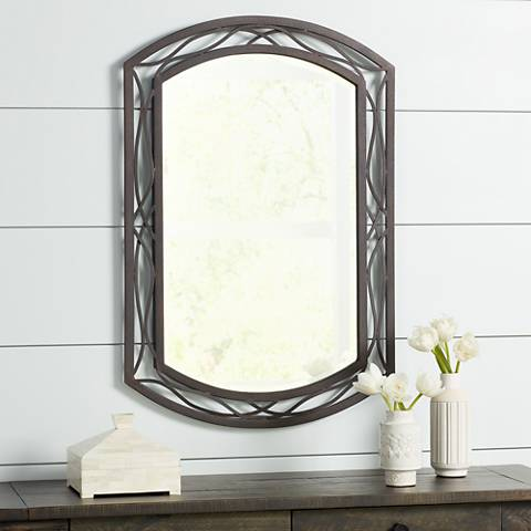 "Woven Bronze Metal 24"" x 35 1/2"" Wall Mirror"