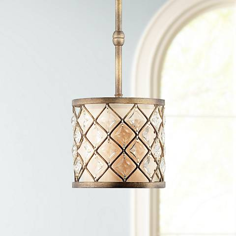 "Jeweled Golden Bronze 9"" Wide Mini Pendant Light"