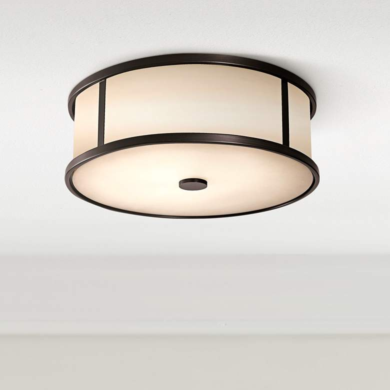 "Feiss Dakota Espresso 14"" Wide Ceiling Light"