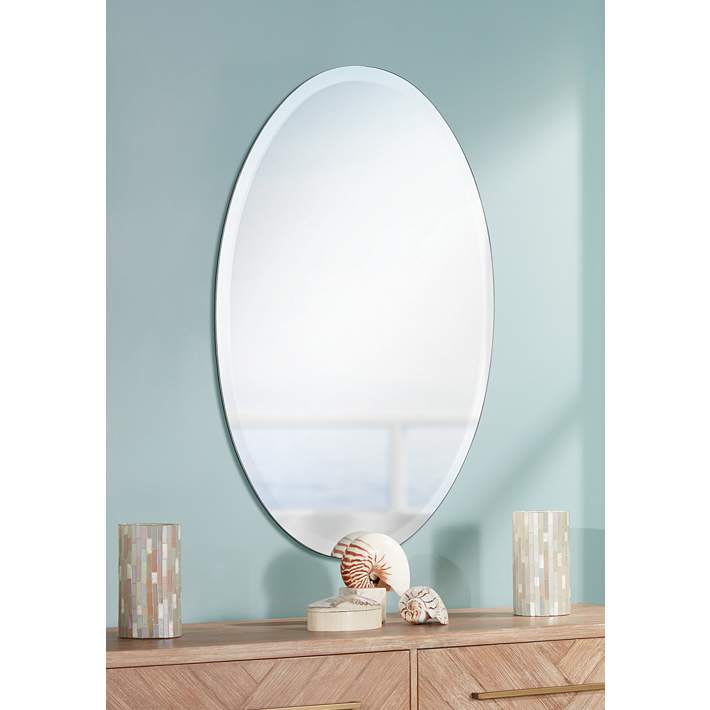 Oval Regency 24 X 48 Beveled Frameless Wall Mirror P1386 Lamps Plus
