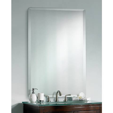 Frameless Rectangular 40 High 30 Wide Beveled Mirror