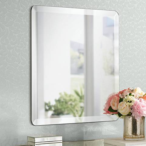 "Square Frameless 24"" Wide Beveled Mirror"