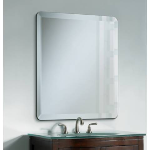 bathroom frameless mirrors square frameless 30 quot wide beveled mirror p1424 lamps plus 10746