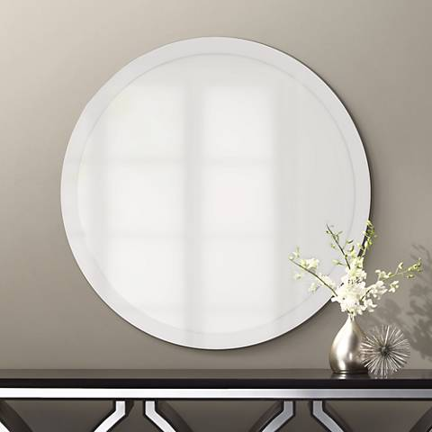 Round Frameless 42 Wide Beveled Mirror