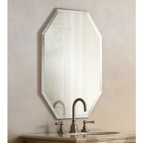 "Octagonal Frameless 36"" High Beveled Mirror"