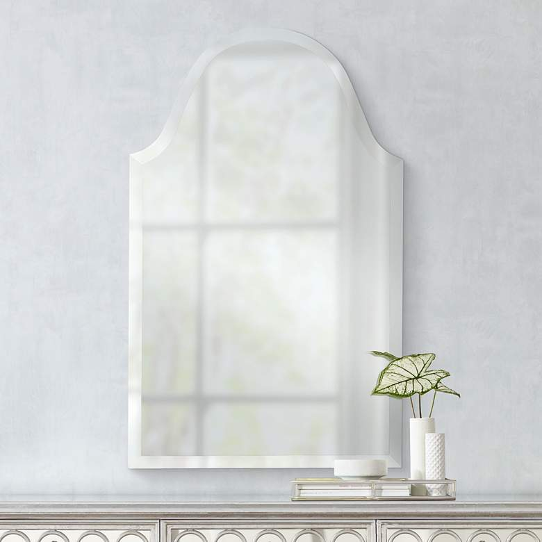 "Crown Arch Frameless 20"" x 40"" Beveled Wall Mirror"