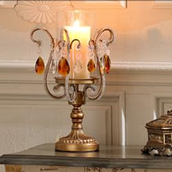 "Hurricane Glass 15 1/2"" High Gold and Crystal Candle Holder"