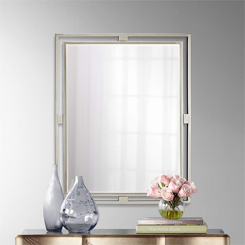 "Kichler Hendrik Brushed Nickel 24"" x 30"" Wall Mirror"