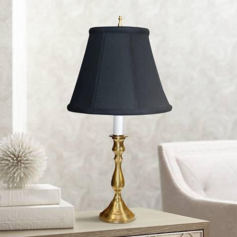 Solid Brass Black Shade Candlestick Table Lamp