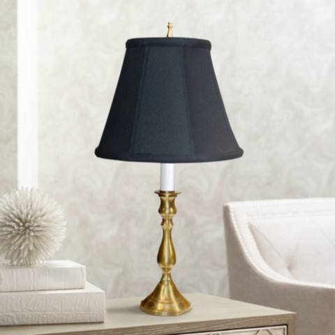 Solid Brass Black Shade Candlestick Table Lamp P3283