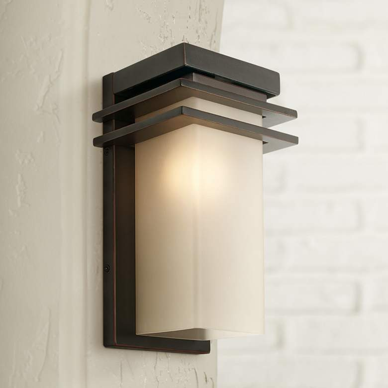 "Bernadine 12"" High Bronze and Amber Glass Outdoor Wall Light"