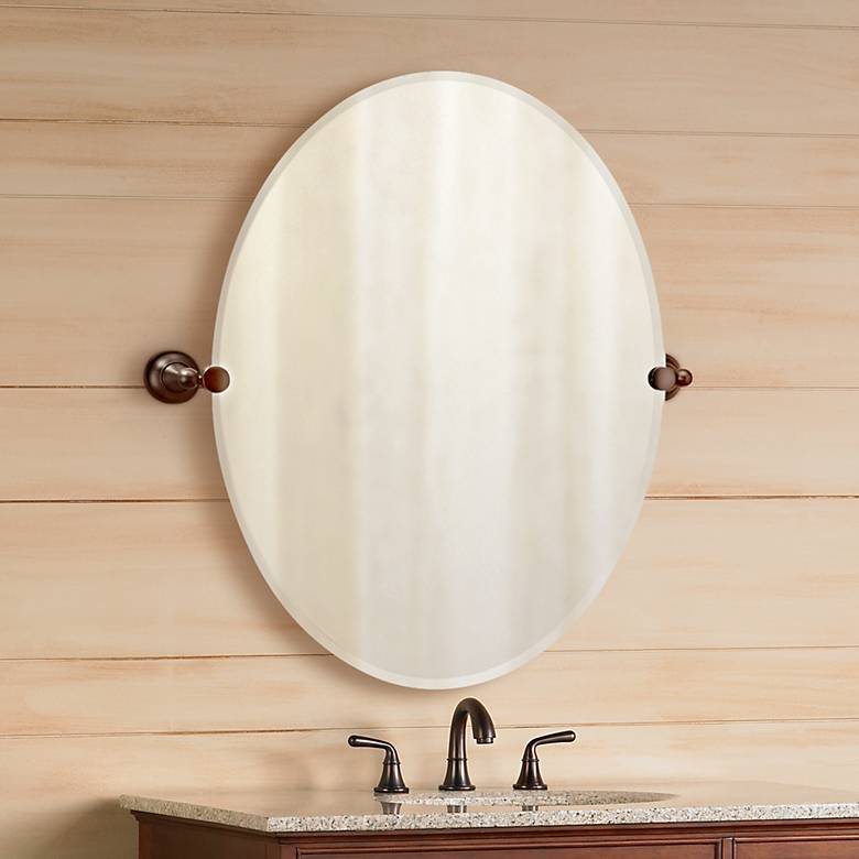 "Gatco Tiara Oiled Bronze Brackets 32"" High Oval Wall Mirror"