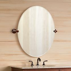 "Gatco Tiara Oiled Bronze Brackets 28"" x 32"" Oval Wall Mirror"