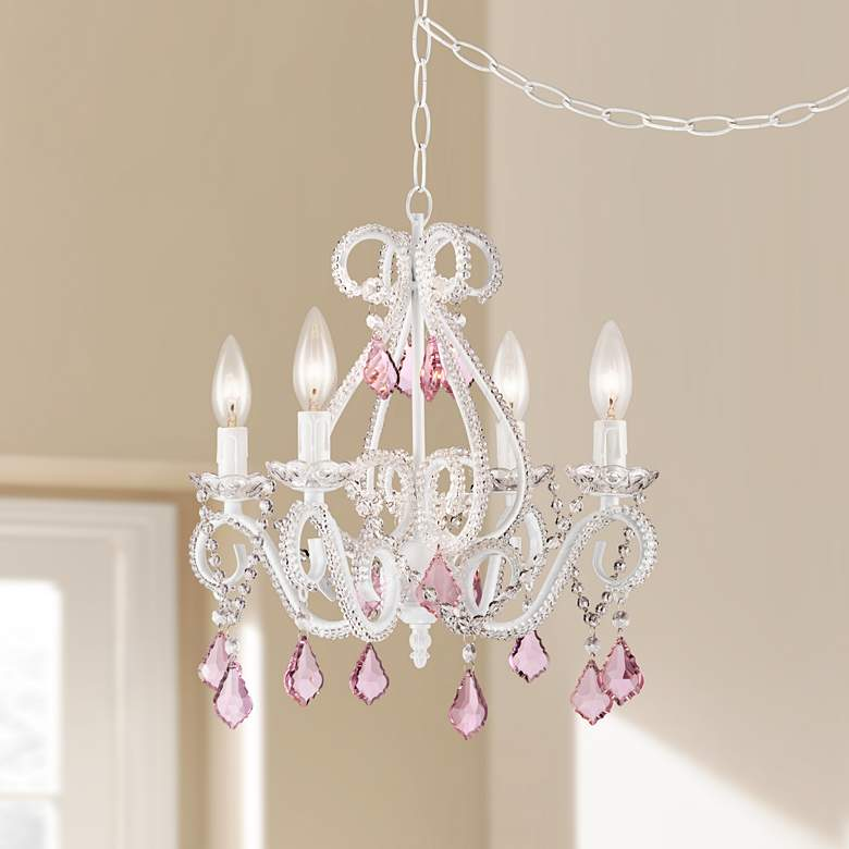 Crystal Scroll White And Pink 16 Wide Swag Chandelier