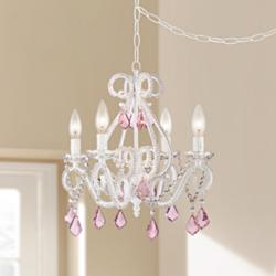 "Crystal Scroll White and Pink 16"" Wide Swag Chandelier"