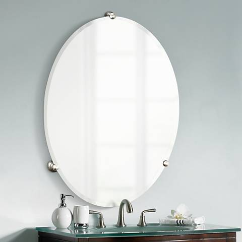 satin nickel mirror gatco oldenburg satin nickel finish oval wall mirror 2104