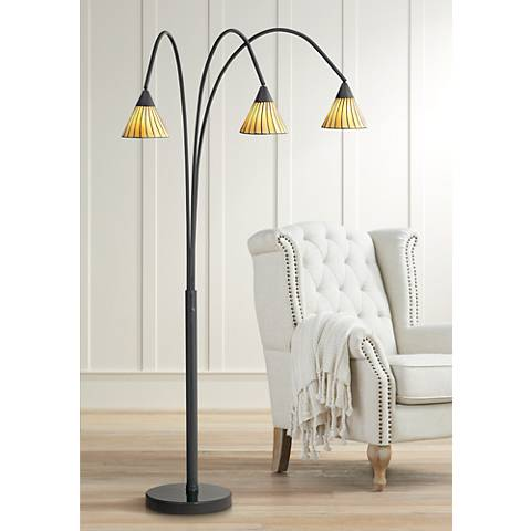 Archway Amber Lines 3 Light Tiffany Arc Floor Lamp