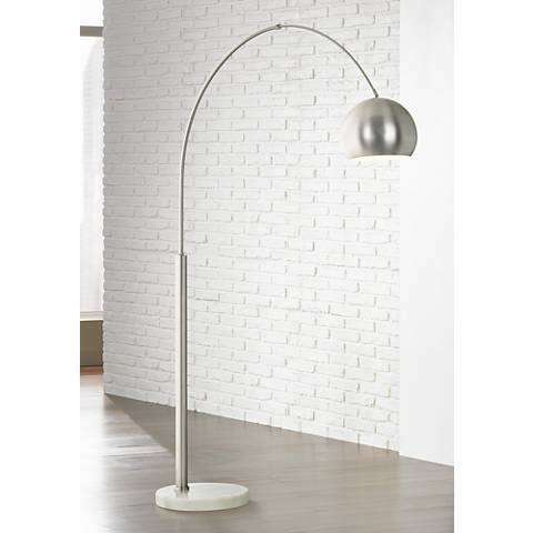 Basque Steel And Brushed Nickel Arc Floor Lamp P9457