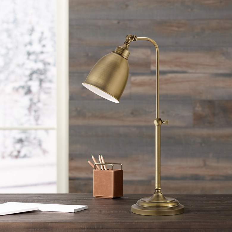 Antique Brass Metal Adjustable Pole Pharmacy Desk Lamp