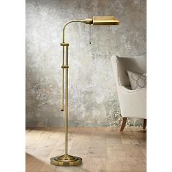 Antique Brass Adjustable Pole Pharmacy Metal Floor Lamp