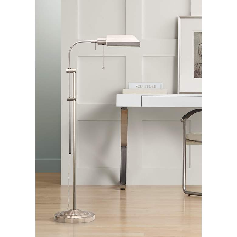 Brushed Steel Adjustable Pole Pharmacy Metal Floor Lamp