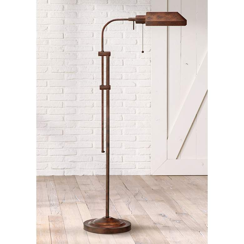 Pharmacy Rust Metal Adjustable Pole Floor Lamp