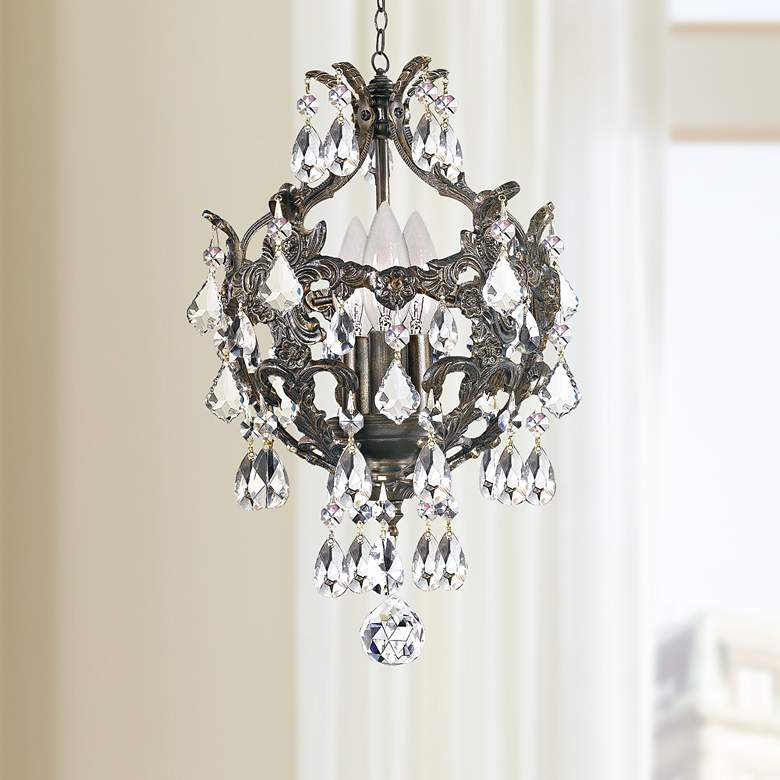 "Crystorama Legacy Collection Bronze 10"" Wide Mini Chandelier"
