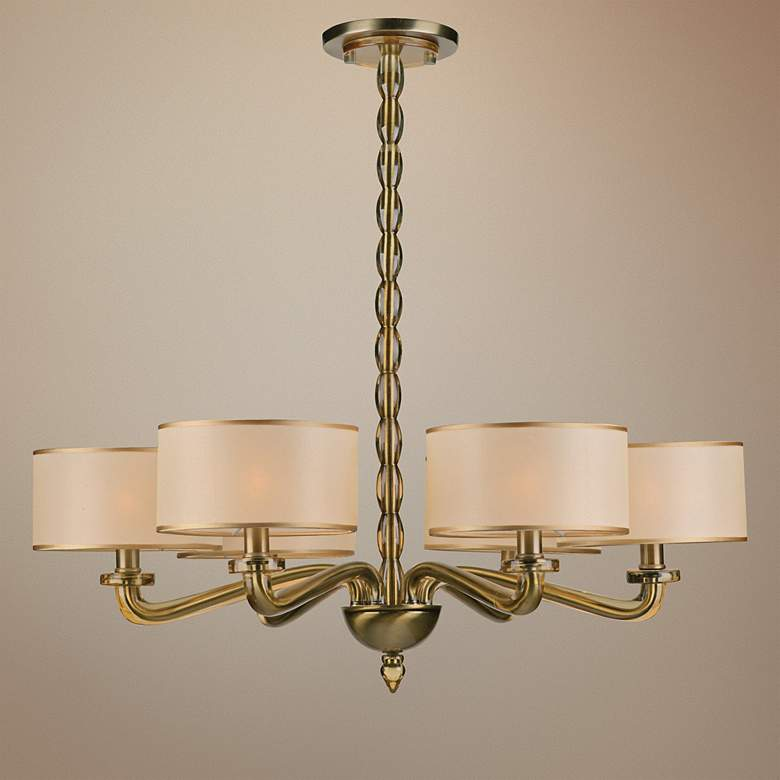 "Crystorama Luxo Collection Antique Brass 30"" Wide Chandelier"