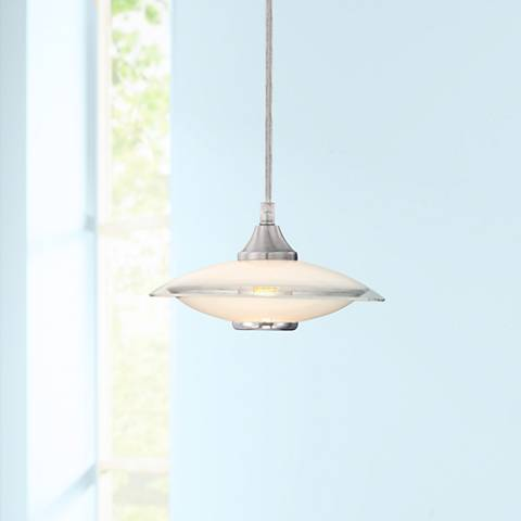 Possini Euro Satin Nickel and Glass Mini Pendant Chandelier
