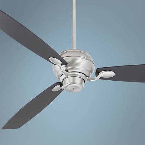 "66"" Spyder Black Square Tip - Brushed Steel Ceiling Fan"