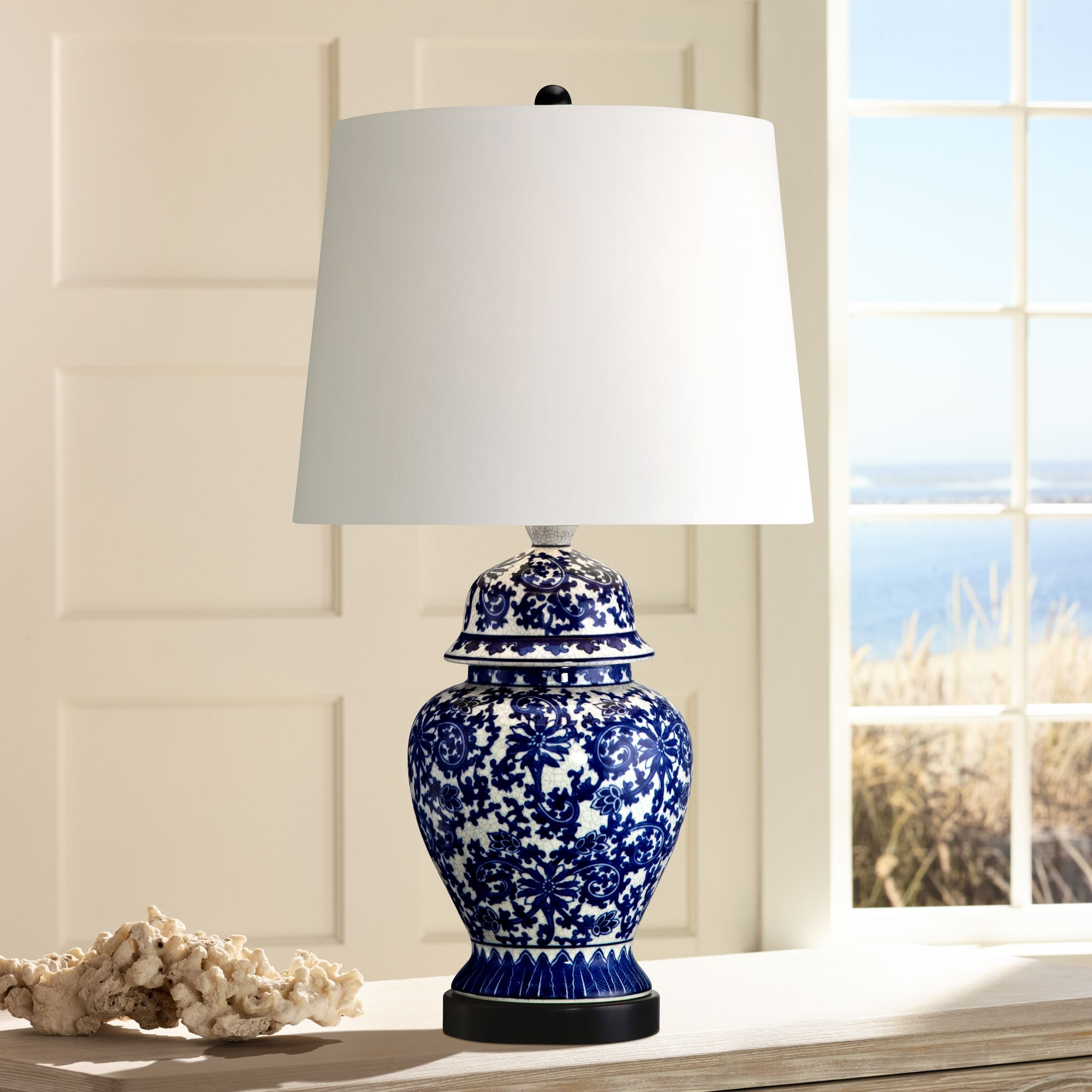 Blue and White Porcelain Temple Jar Table Lamp R2462 Lamps Plus