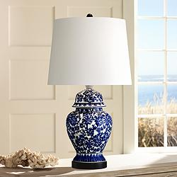 Blue and White Porcelain Temple Jar Table Lamp
