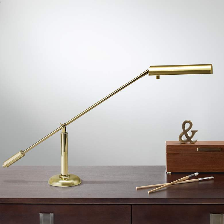 House of Troy Polished Brass Counter Balance Piano Lamp