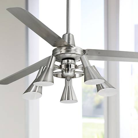 60 casa turbina brushed steel 5 light ceiling fan
