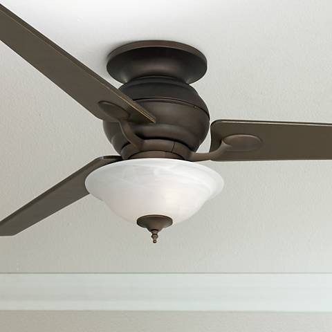 "60"" Spyder Bronze Alabaster Glass Light Hugger Ceiling Fan"