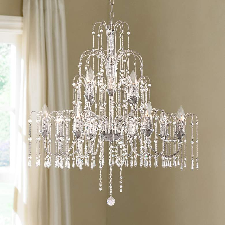 "Crystal Rain Collection 33"" Wide Large Crystal Chandelier"