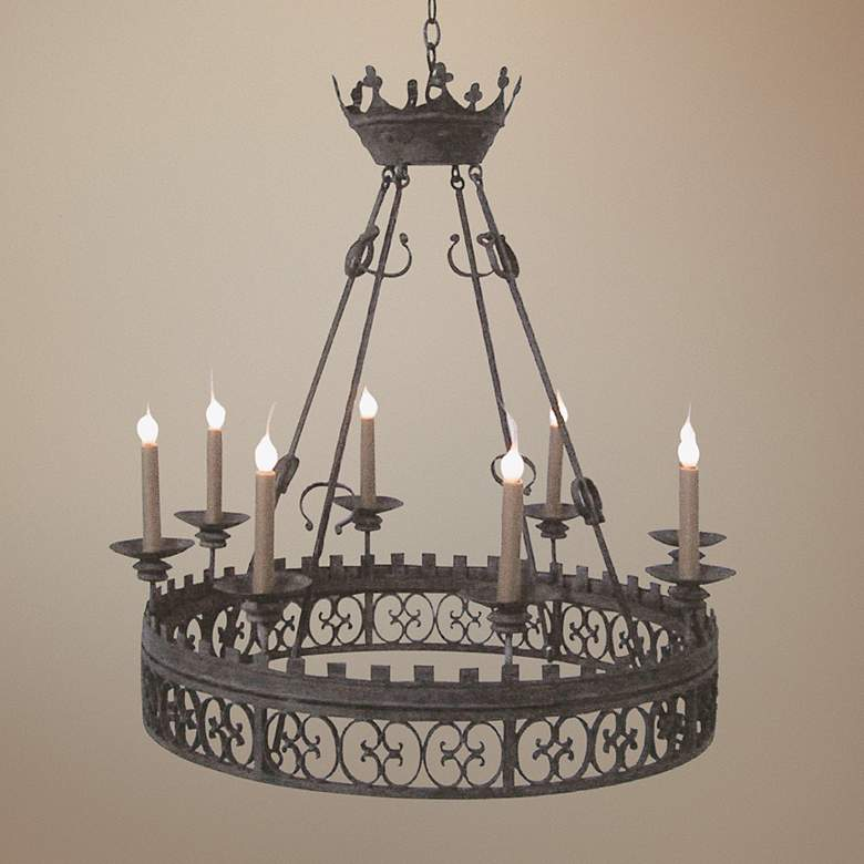 "Laura Lee King Arthur 8-Light 37"" Wide Iron"