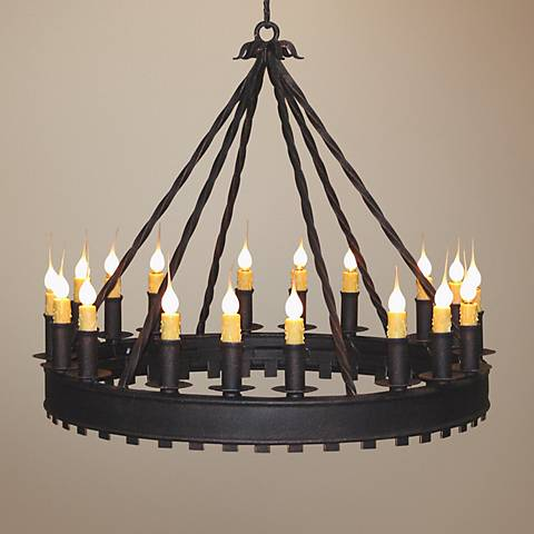"Laura Lee Princeton 18-Light 32"" Wide Round Iron Chandelier"