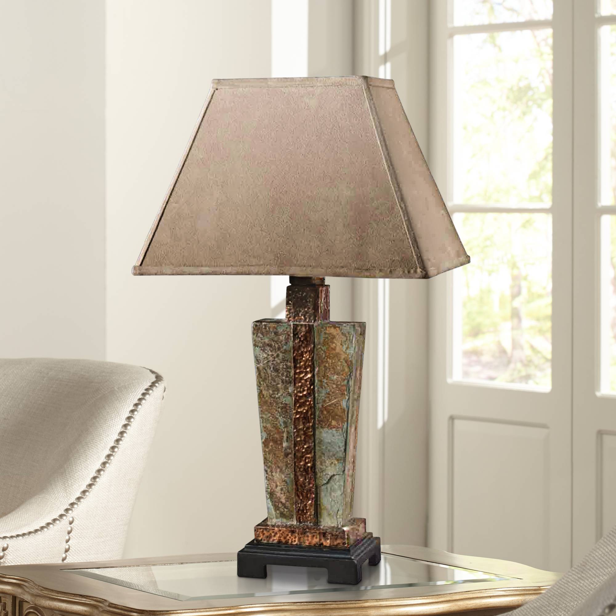 Uttermost slate copper indoor outdoor table lamp