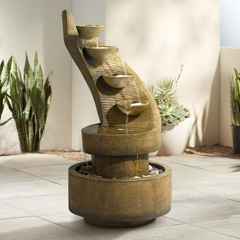 "Cascading 39 1/2"" High Modern Zen Fountain with LED Lights"