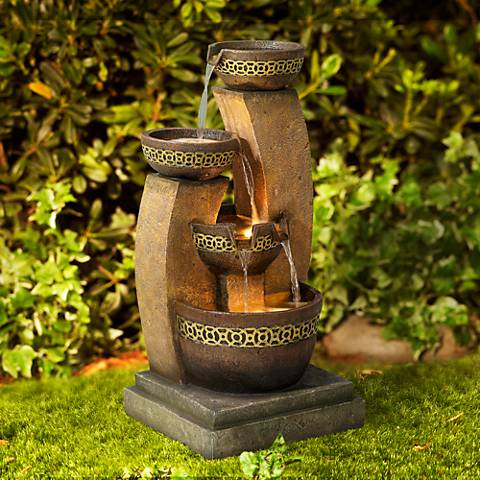 "Four Bowl 41 1/2"" High LED Cascading Floor Fountain"