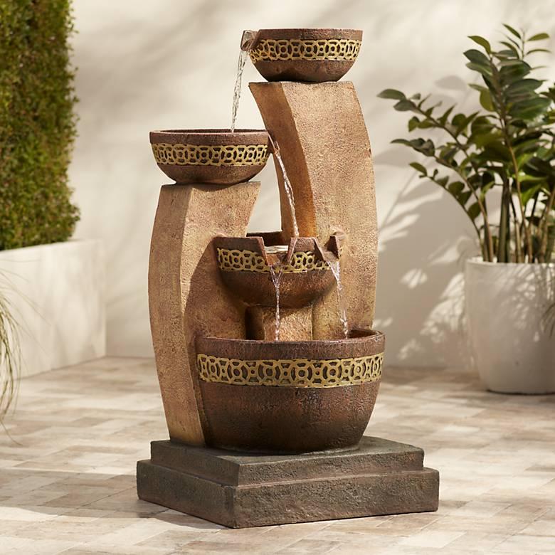 """Four Bowl 41 1/2"""" High LED Cascading Floor Fountain"""