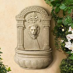 "Lion Face 31"" High Sandstone Finish Wall Fountain"