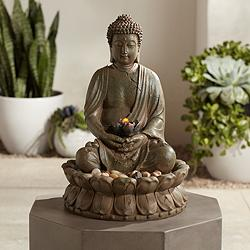 "Meditating Buddha Antique Bronze 18.5""H LED Lighted Fountain"