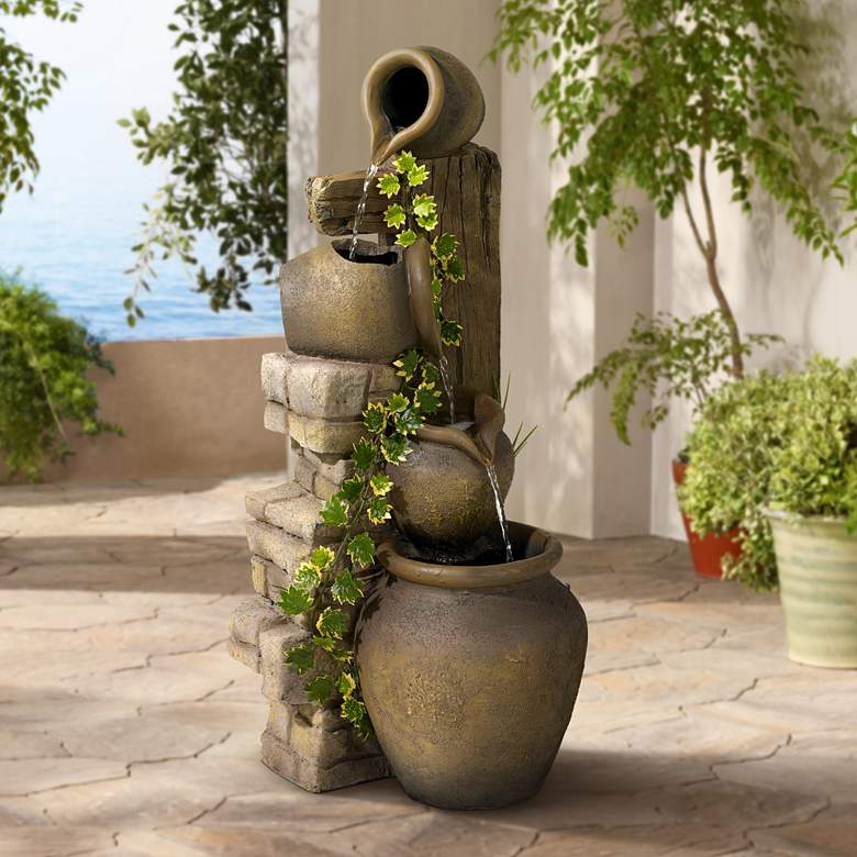 "Cascading 33"" High Three Jugs Rustic Fountain"