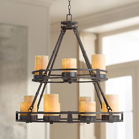 Sunset onyx stone 12 light faux candle chandelier r6623 lamps plus sunset onyx stone 12 light faux candle chandelier aloadofball Choice Image