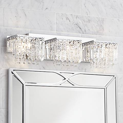 "Possini Euro Crystal Strand 25 3/4"" Wide Chrome Bath Light"