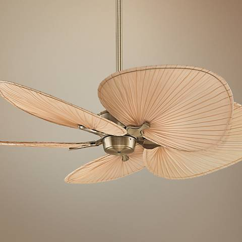 52 fanimation islander brass palm leaf ceiling fan r6872 83495