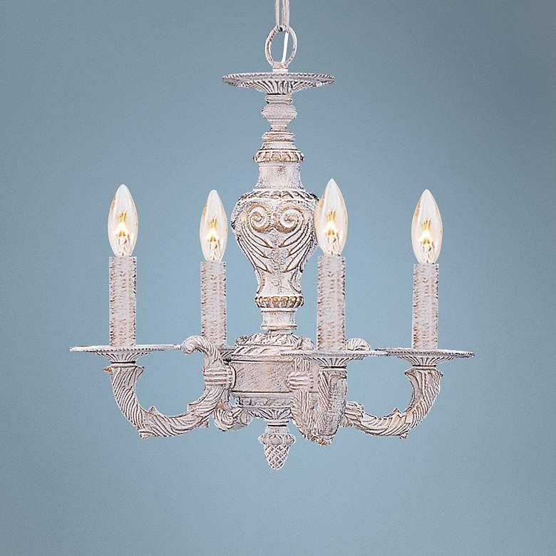 "Sutton 13 1/2"" Wide Antique White and Gold Chandelier"
