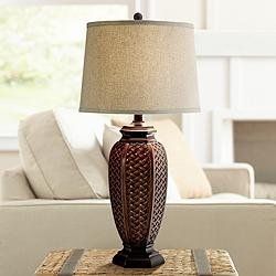 Faux Wicker Jar Table Lamp